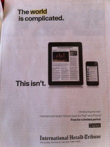 """ELOGE DE LA SIMPLICITE"" avec la pub Herald Tribune"