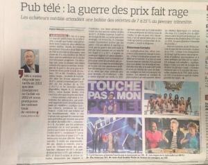 Le Figaro sur les prix de la pub télé