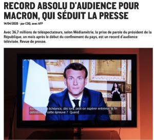 Record historique d'audience TV pour le Pdt Macron le 13 Avril 2020